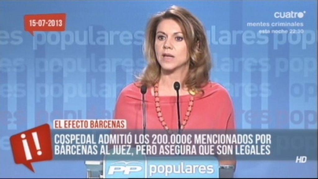 ¿Dónde están los 200.000 euros que admitió Cospedal?