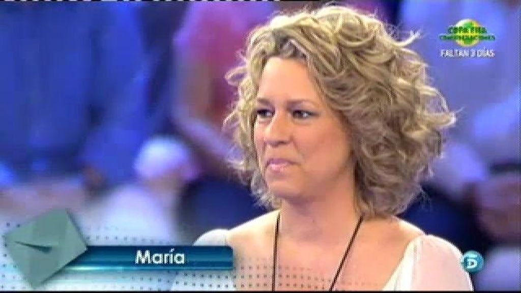 María quiere agradecer a Cristina Tárrega su apoyo durante su enfermedad