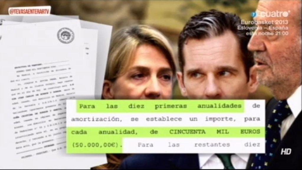 La fiscalía no investigará el préstamo de 1,2 millones de euros del Rey a la Infanta Cristina