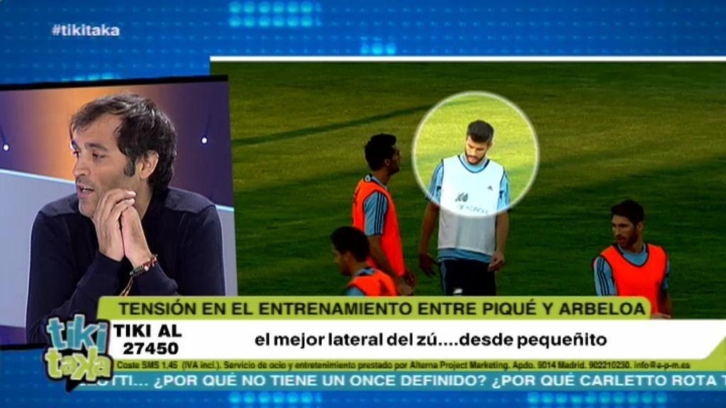 ¿Primer encontronazo de Piqué y Arbeloa en el entrenamiento de la selección?