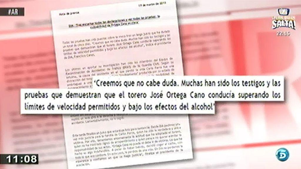 La asociación de víctimas de accidentes asegura que Ortega conducía bajo los efectos del alcohol