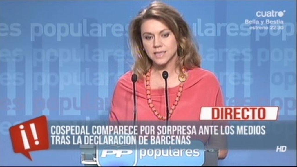 """María Dolores de Cospedal: """"Todos nuestros ingresos están declarados a Hacienda"""""""