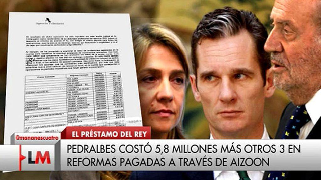 El Rey prestó a la Infanta Cristina 1,2 millones de euros