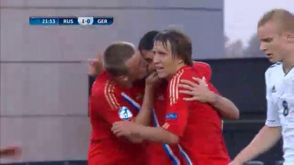 Gol: Rusia 1-0 Alemania (min.22)