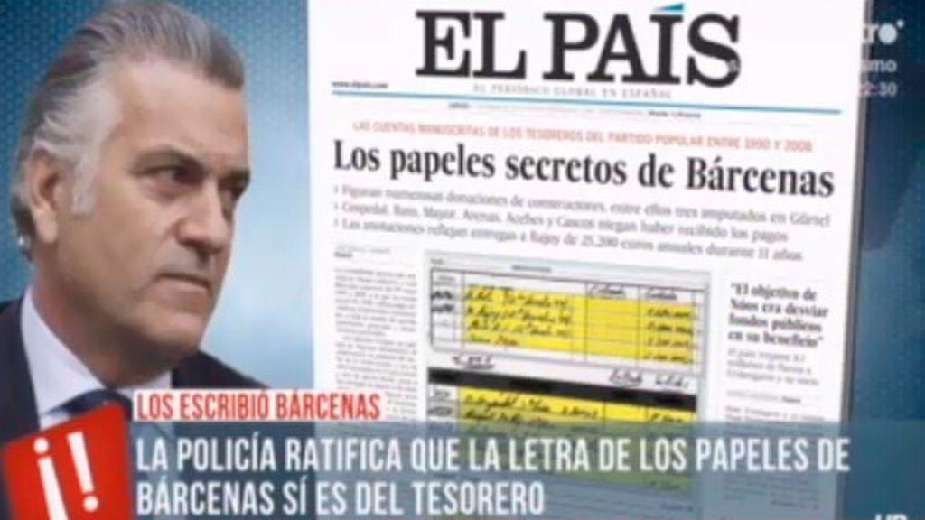 La policía ratifica que la letra de los papeles de Bárcenas si es del tesorero