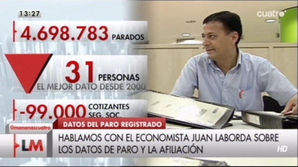 """El economista Juan Laborda explica por qué el dato del paro es """"globalmente negativo"""""""