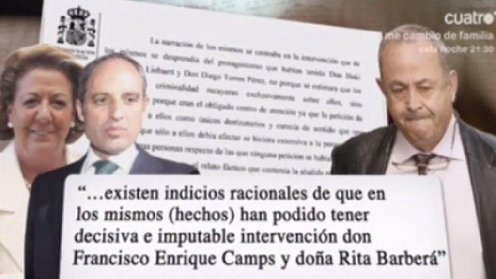 El juez Castro atribuye cuatro delitos a Francisco Camps y Rita Barberá