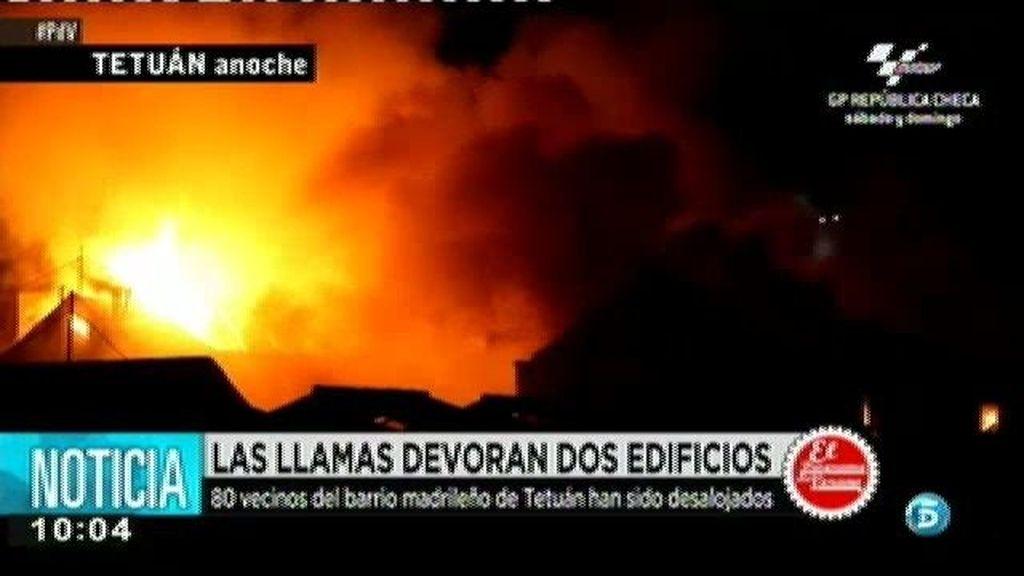 Las llamas devoran dos edificios de Madrid