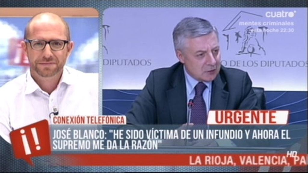 """Pepe Blanco: """"He sido víctima de un infundio y ahora el Supremo me da la razón"""""""
