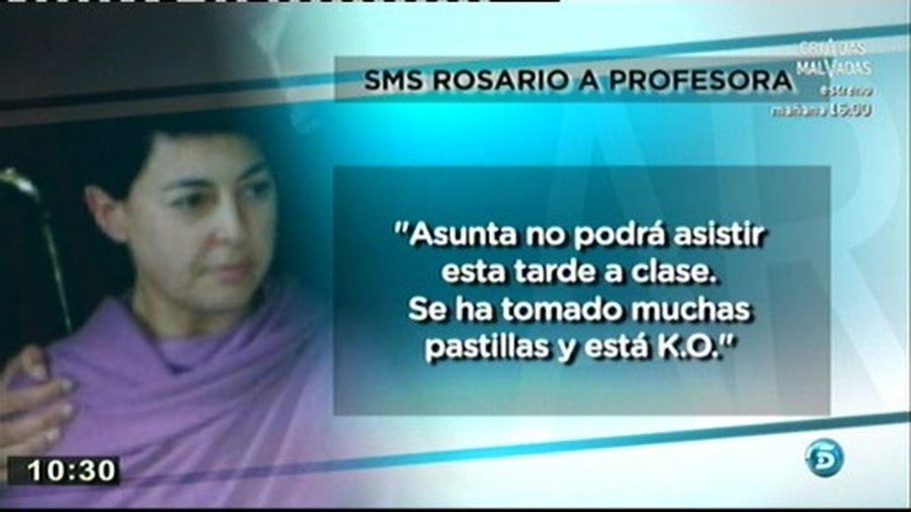 """El sms de Rosario a la profesora: """"Asunta ha tomado muchas pastillas y está K.O."""""""
