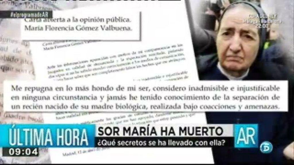 Fallece Sor María