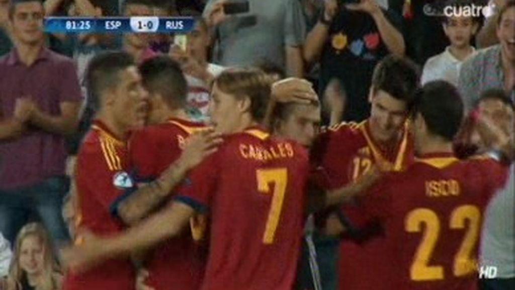 Gol: España 1-0 Rusia (min. 81)
