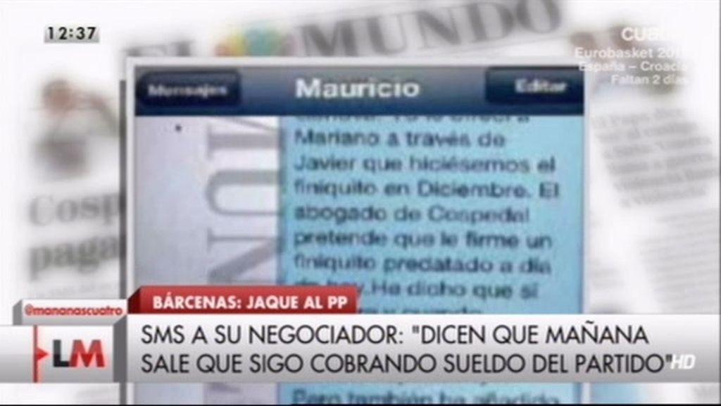 Nuevos SMS implican a Cospedal en el finiquito de Bárcenas