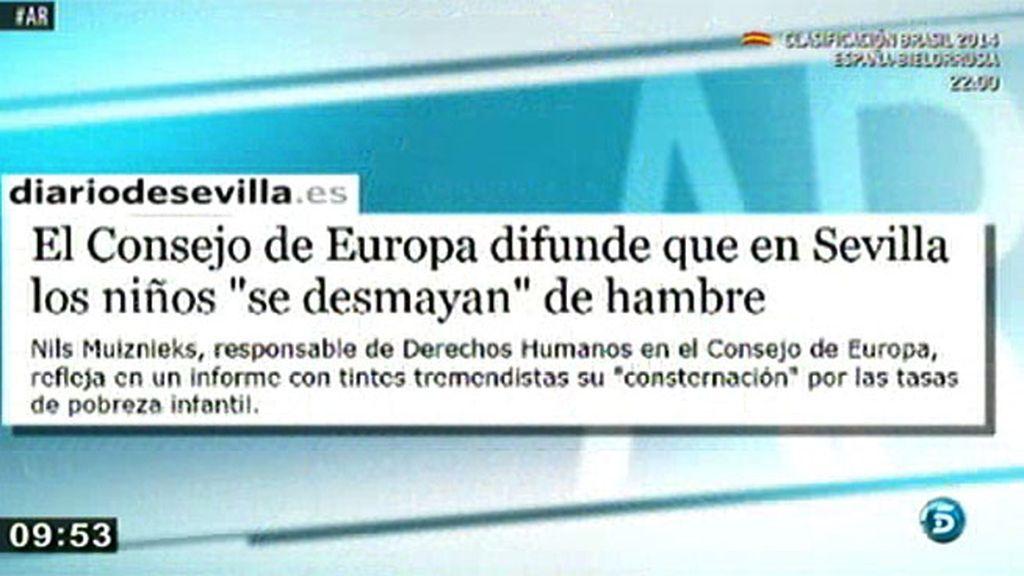 El Consejo de Europa difunde que en Sevilla los niños se desmayan de hambre