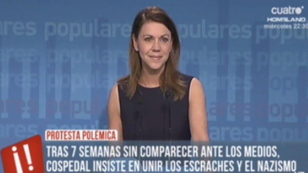 Cospedal ha criticado duramente a los escraches en la rueda de prensa