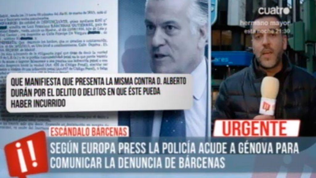 La policía acude a Génova para comunicar al abogado del PP la denuncia de Bárcenas