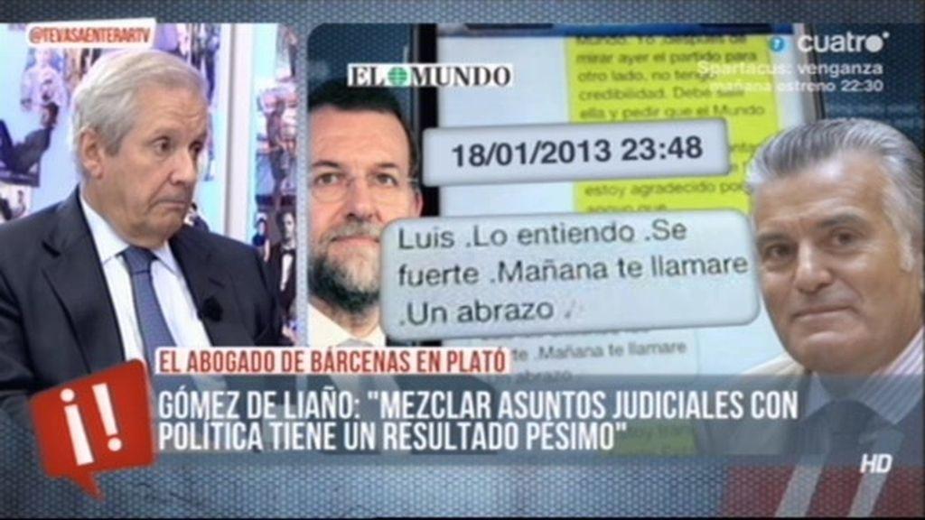 """Gómez de Liaño: """"Mi consejo es que Bárcenas diga toda la verdad"""""""