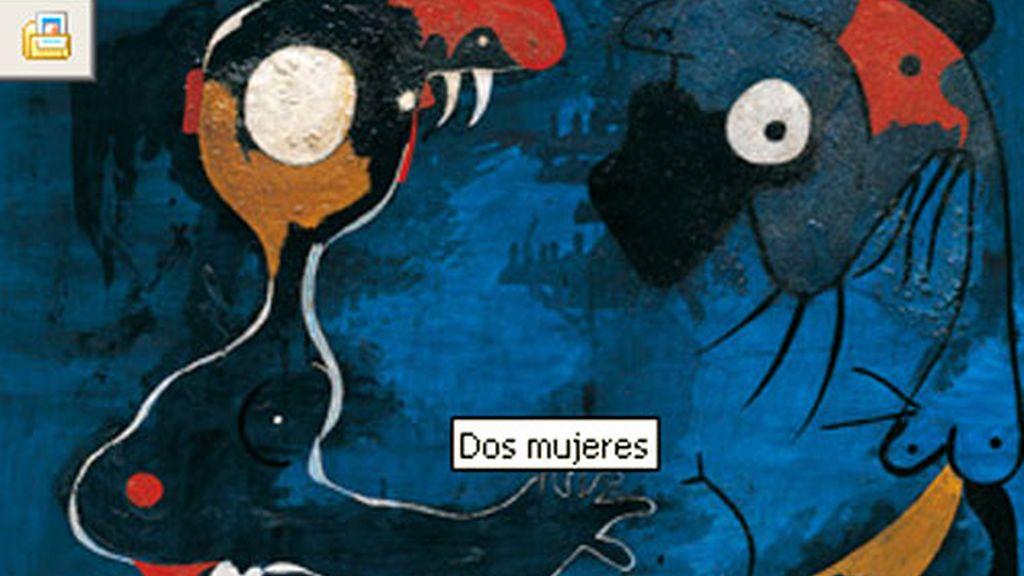 Cuadro que podrá ser vista en la exposición: 'Miró, tierra'. Dos mujeres (1935)