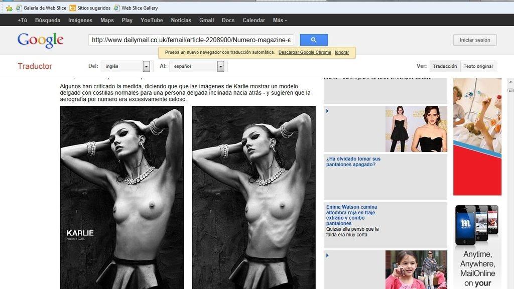 Retocan el cuerpo de la modelo Karlie Kloss para evitar la polémica sobre sus desórdenes alimentarios