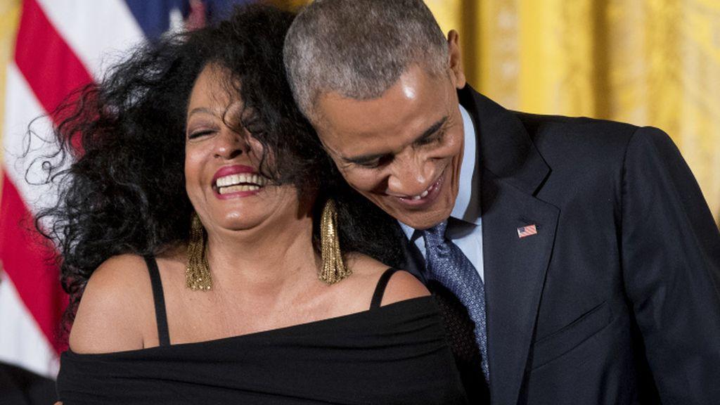 Diana Ross y Barack Obama, en la Casa Blanca