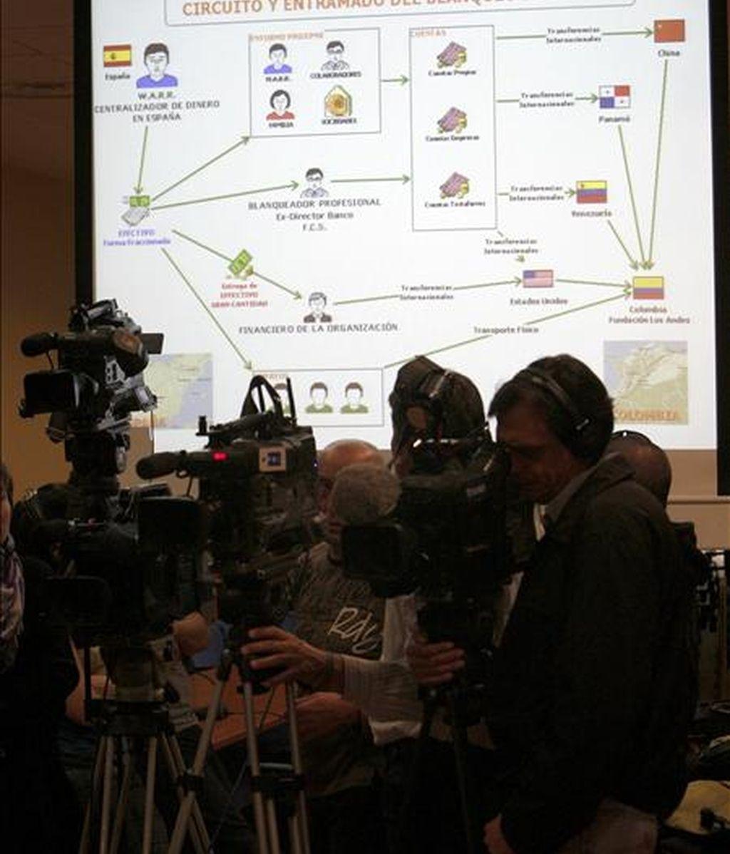 Informadores gráficos, durante la rueda de prensa que ofreció hoy en Madrid la Policía Nacional para informar de la detención de 20 personas y la desarticulación de una red internacional de blanqueo de capitales provenientes del narcotráfico, cuyos miembros habían creado un entramado para transferir los fondos desde España a otros países. EFE