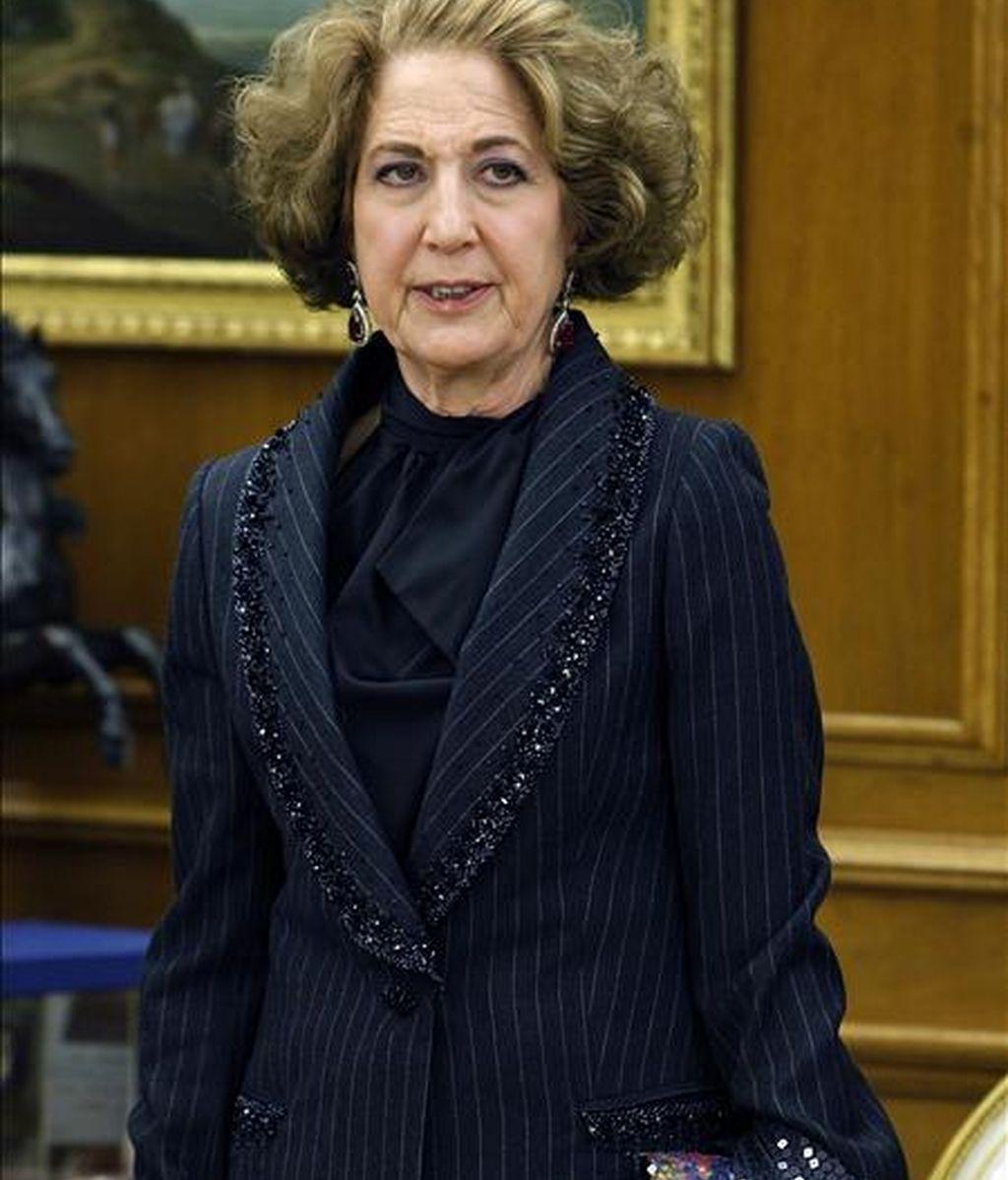 La presidenta de Unidad Editorial, Carmen Iglesias,  durante la audiencia del Rey Juan Carlos celebrada en noviembre pasado en el Palacio de la Zarzuela. EFE