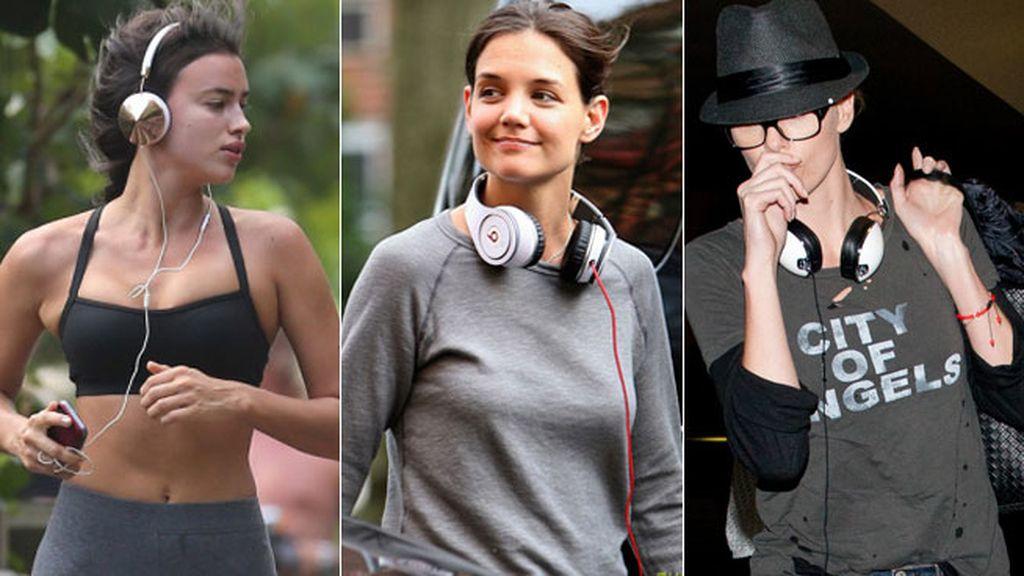 Dorados para Irina, ochenteros para Katie holmes... A cada vip, sus auriculares