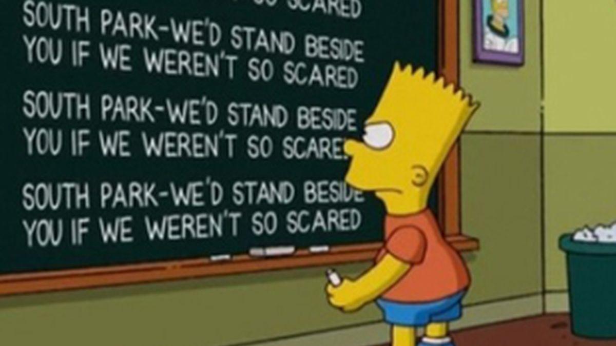 Cabecera de 'Los Simpsons' en la que se hace un guiño a 'South Park'. Foto: Archivo.