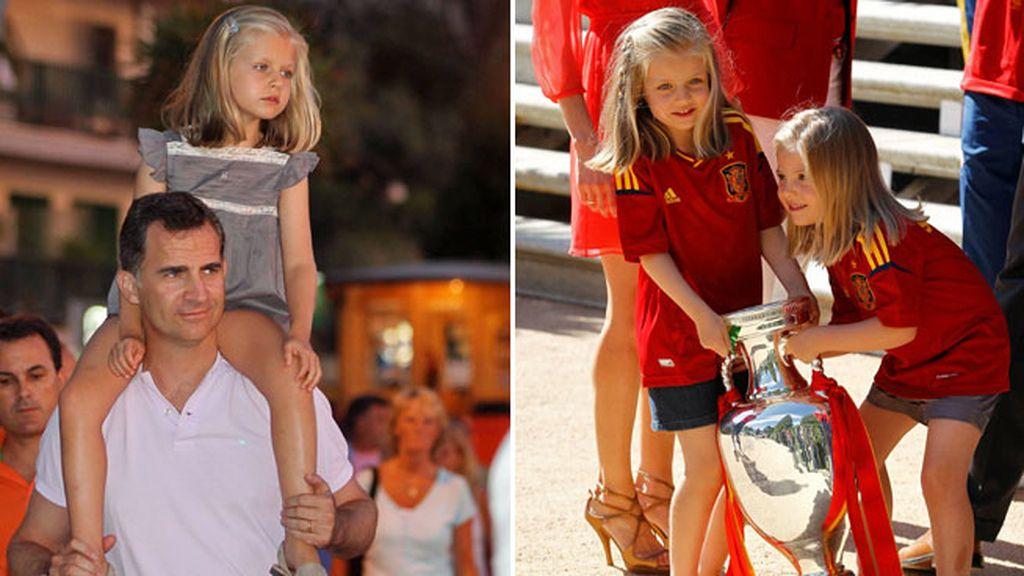 Con siete años celebró la victoria de la roja a juego con Sofía