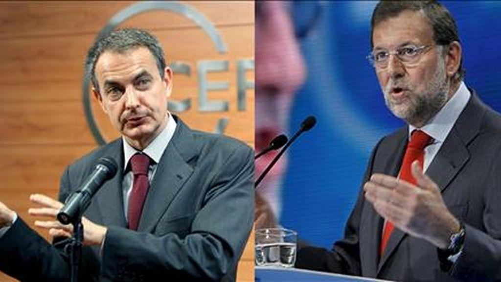 El líder del PSOE, José Luis Rodríguez Zapatero (i) y su homólogo del PP, Mariano Rajoy. EFE/Archivo
