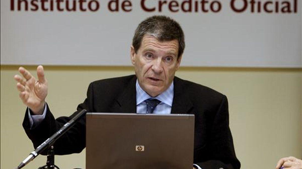 El presidente del ICO, Aurelio Martínez, durante la presentación del Índice de Confianza de los Consumidores (ICC-ICO) de marzo. EFE/Archivo