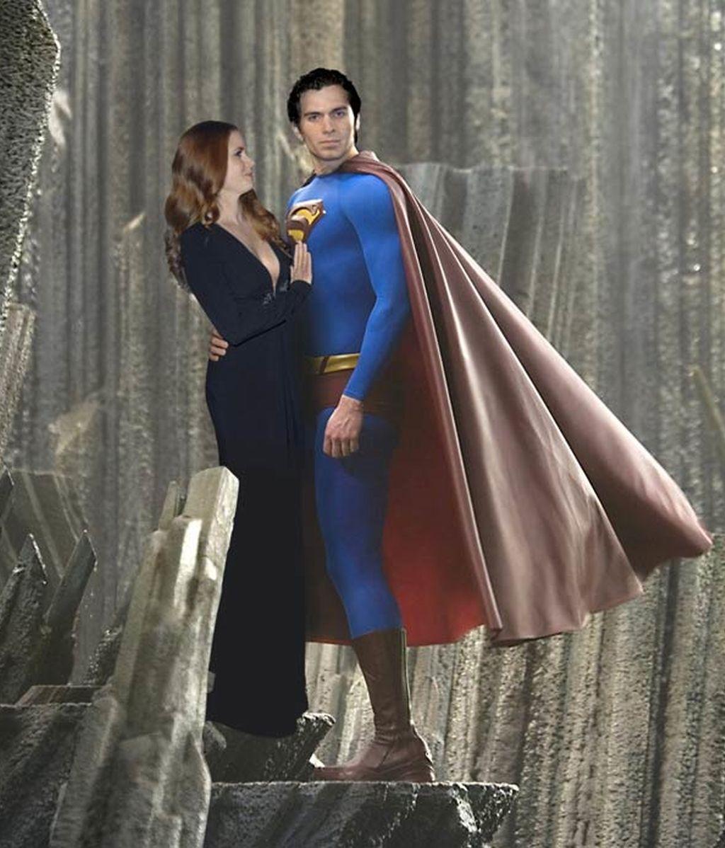 Un montaje recrea cómo aparecerán Henry Cavill y Amy Adams en 'Superman'. Foto: GTRES