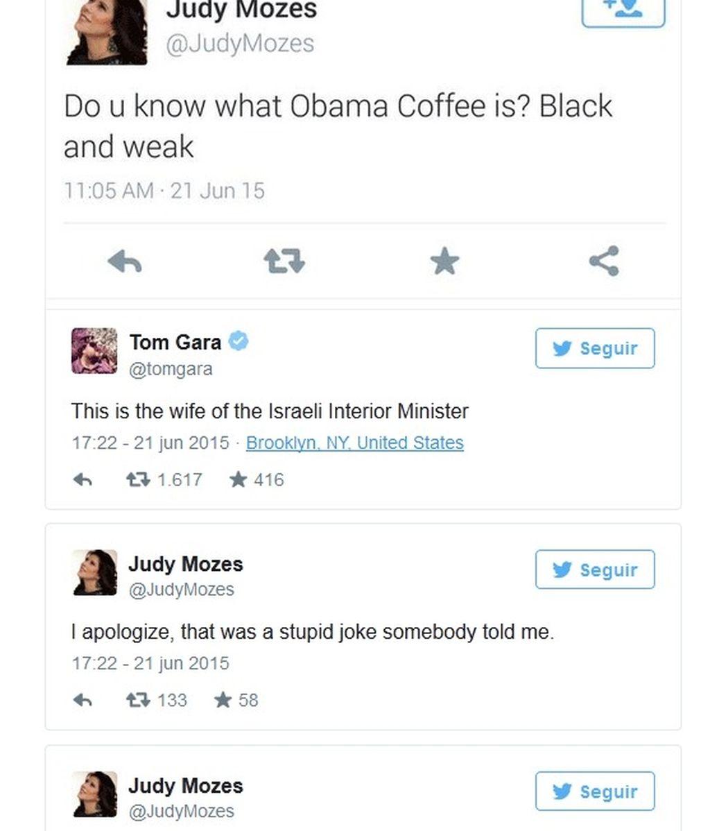 La esposa del ministro del Interior de Israel se diculpa por el tuit ofensivo contra Obama