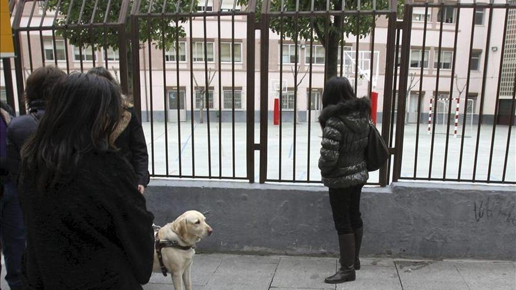 En la imagen, varias personas observan desde fuera el patio de un colegio. EFE/Archivo