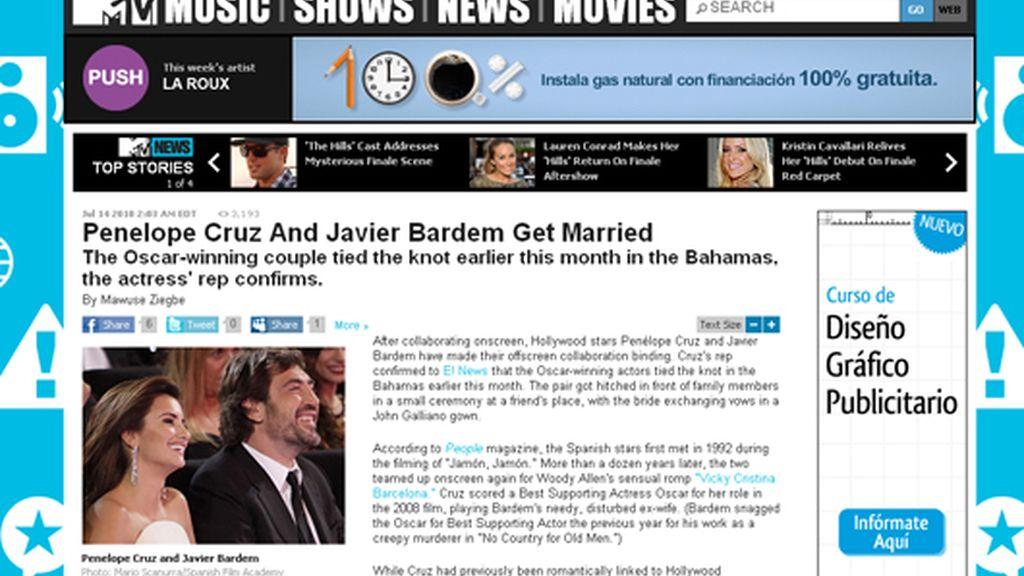 La boda de Pe y Bardem, en los medios