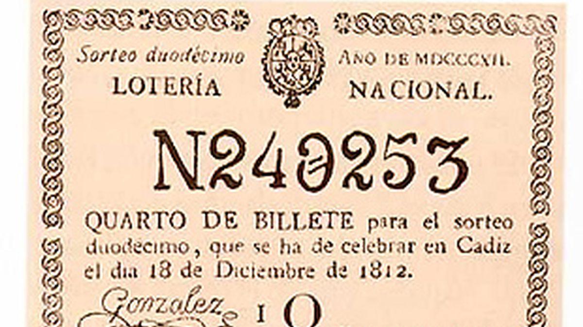 Billete de Lotería de diciembre de 1812, fecha del primer sorteo.