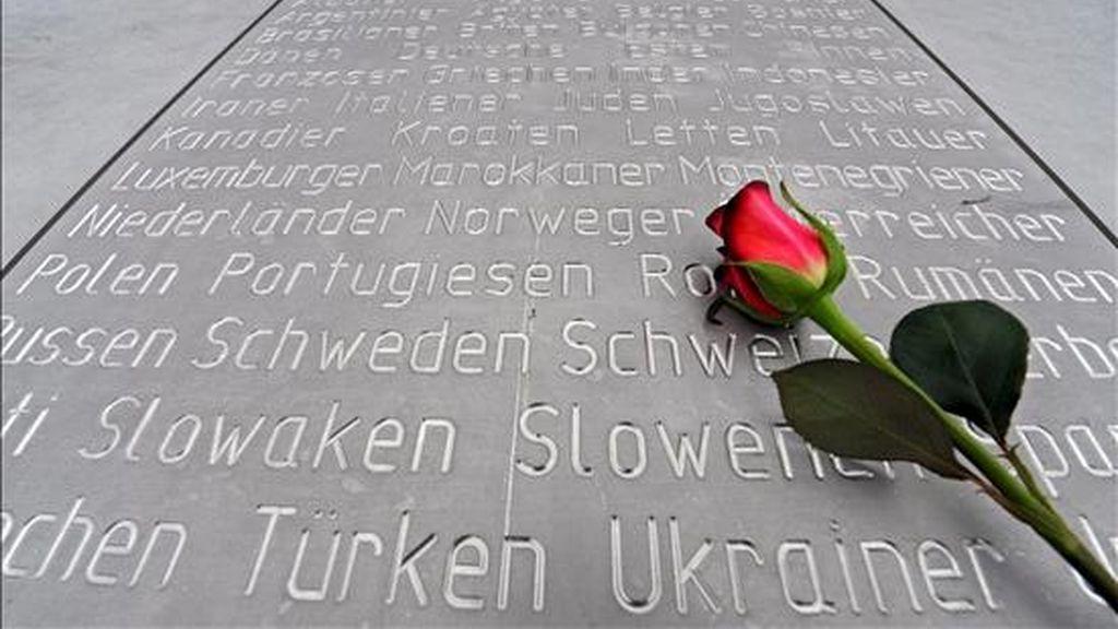 Una rosa ha sido colocada en un monumento conmemorativo del aniversario internacional del holocausto judío, en Berlín (Alemania), el pasado 27 de enero. EFE