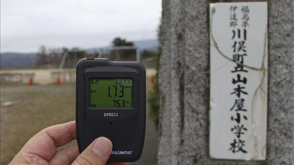 Los niveles de radiación marcan 1,73 microsieverts por hora en un colegio de primaria en Kawamata en la prefectura de Fukushima (Japón). EFE/Archivo