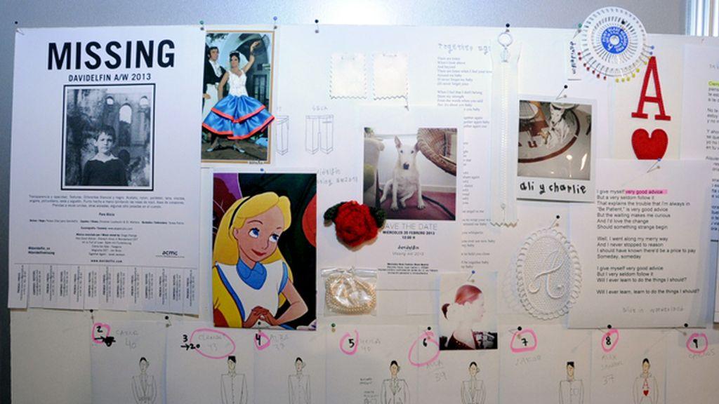 """La """"inspiration board"""" de David Delfín, donde se observan claramente los referentes del diseñador a la hora de crear """"Missing"""""""