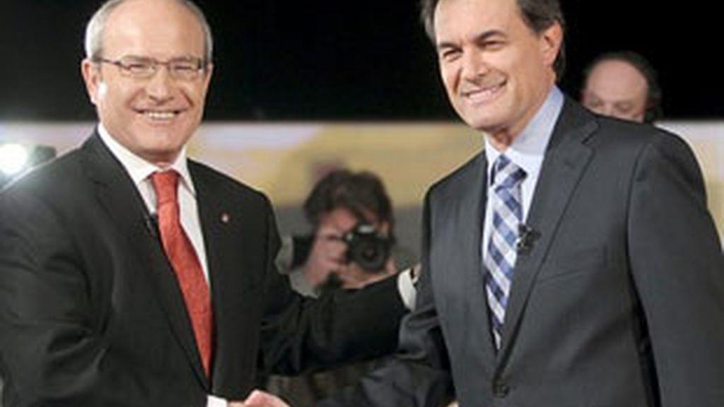 Montilla y Mas solo han podido enfrentarse en el debate de candidatos ya que el cara a cara fue prohibido por la Junta Electoral Central. FOTO: EFE / Archivo