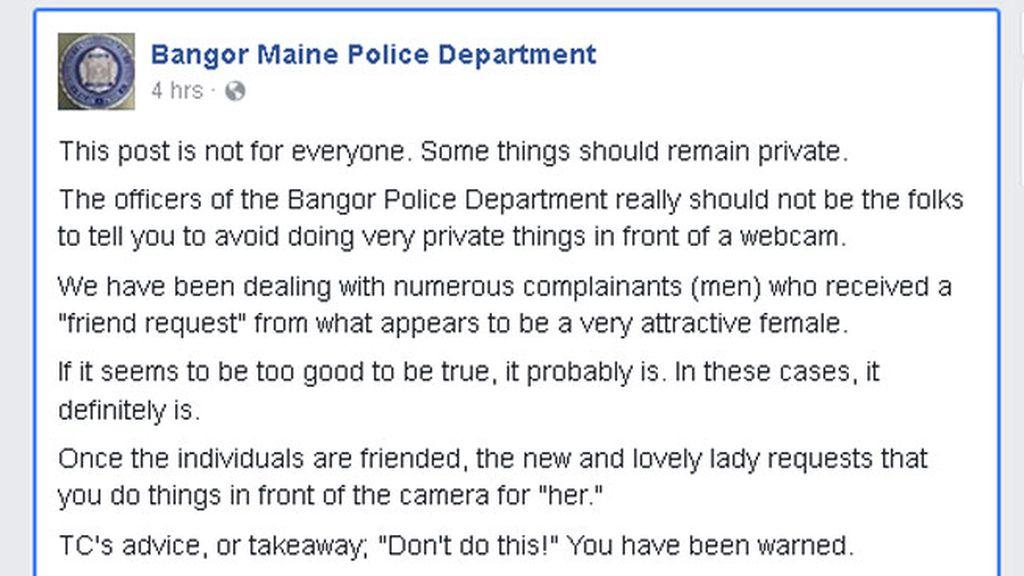 Mensaje de la Policía en Facebook