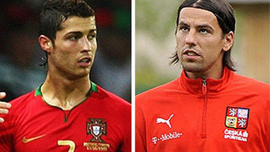 Cristiano Ronaldo y Milan Baros. FOTOS: Web oficial de la Eurocopa.