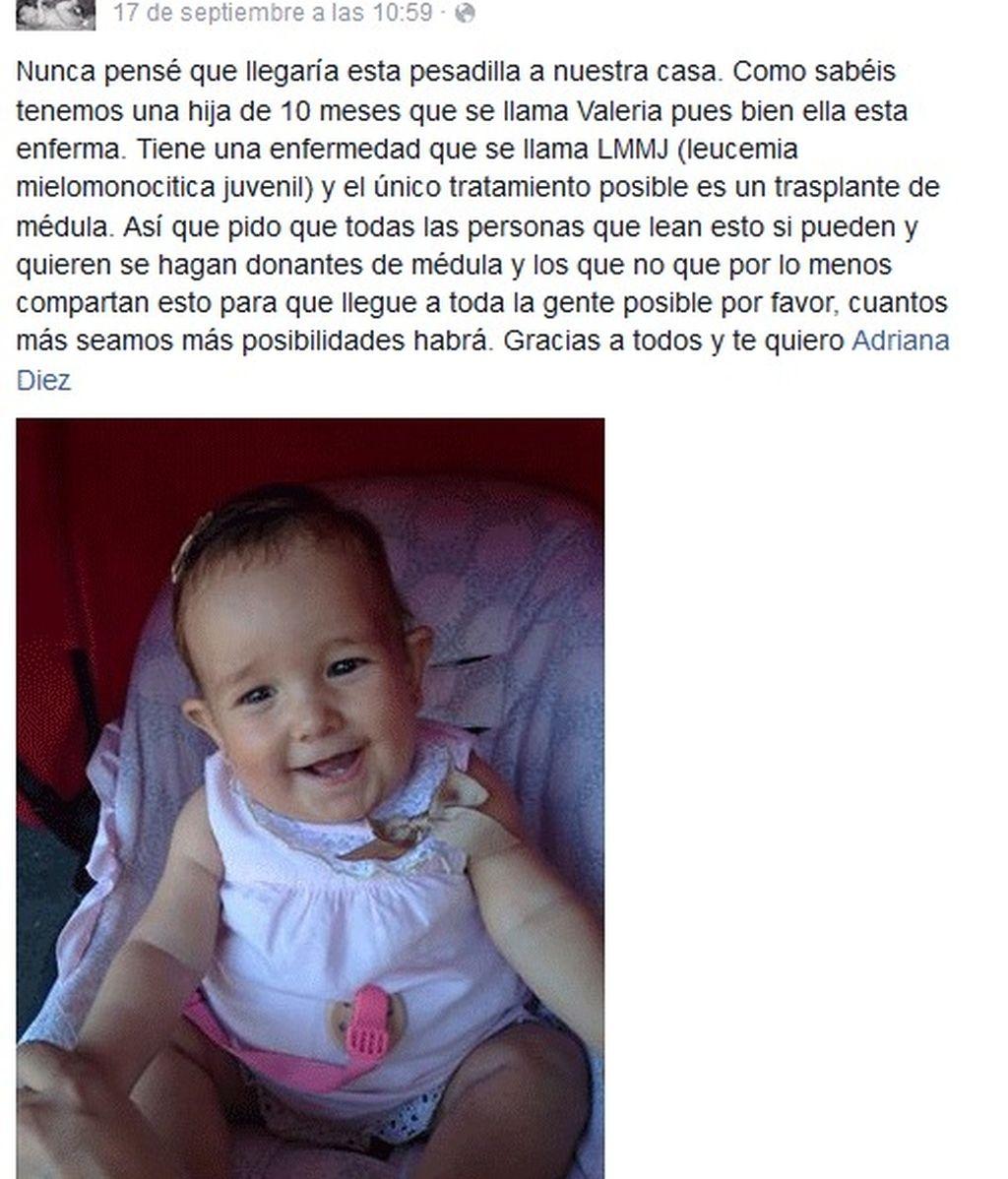 Inician una campaña en Internet en busca de un donante de médula para una niña de diez meses