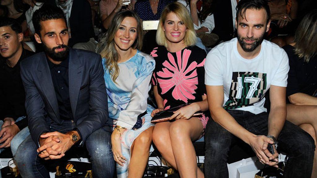 Alvaro Arbeloa y su mujer Carlota Ruiz con Adriana Abenia y Sergio Abad