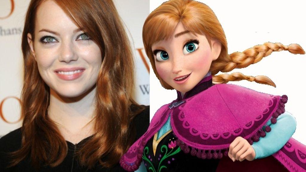 La simpatía y los enormes ojos verdes, los rasgos que comparten Emma Stone y Anna de 'Frozen'