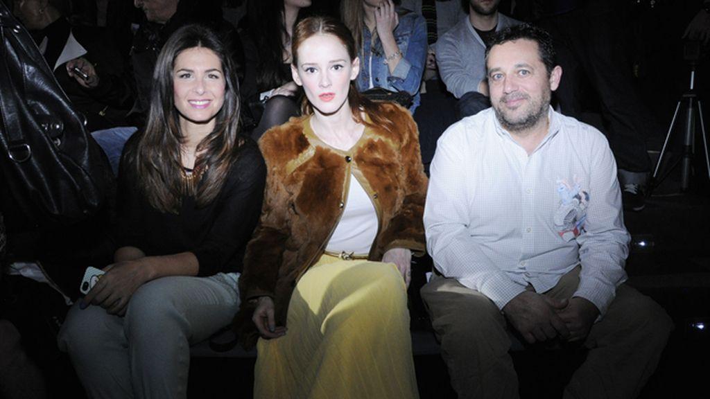 Nuria Roca, Ana Polvorosa y Pepón Nieto en el front row de David Delfín