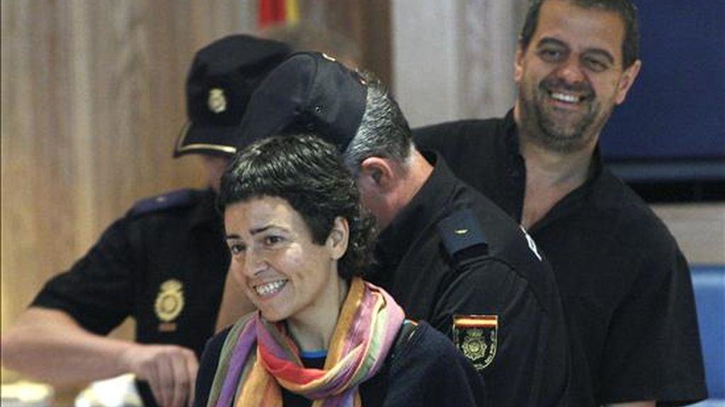 Miriam Campos Alonso y Xavier Alegría, en la Audiencia Nacional, donde se les juzga junto a otros 20 miembros de la ilegalizada Udalbiltza-Kursaal, la asamblea de electos de Batasuna. EFE