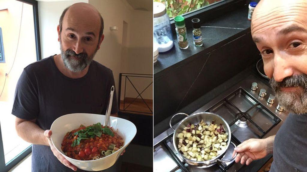 Javier Cámara, caponata siciliana con pasta de acompañamiento