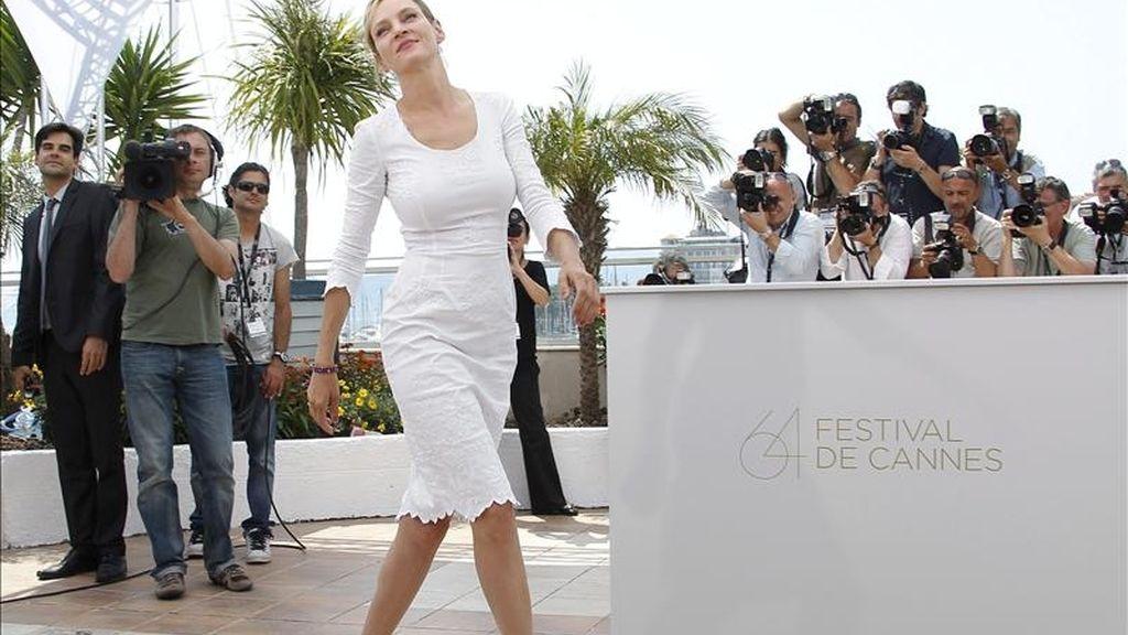 La actriz estadounidense y miembro del jurado Uma Thurman posa durante el pase gráfico de los miembros del jurado en la 64ª edición del Festival de Cine de Cannes. EFE