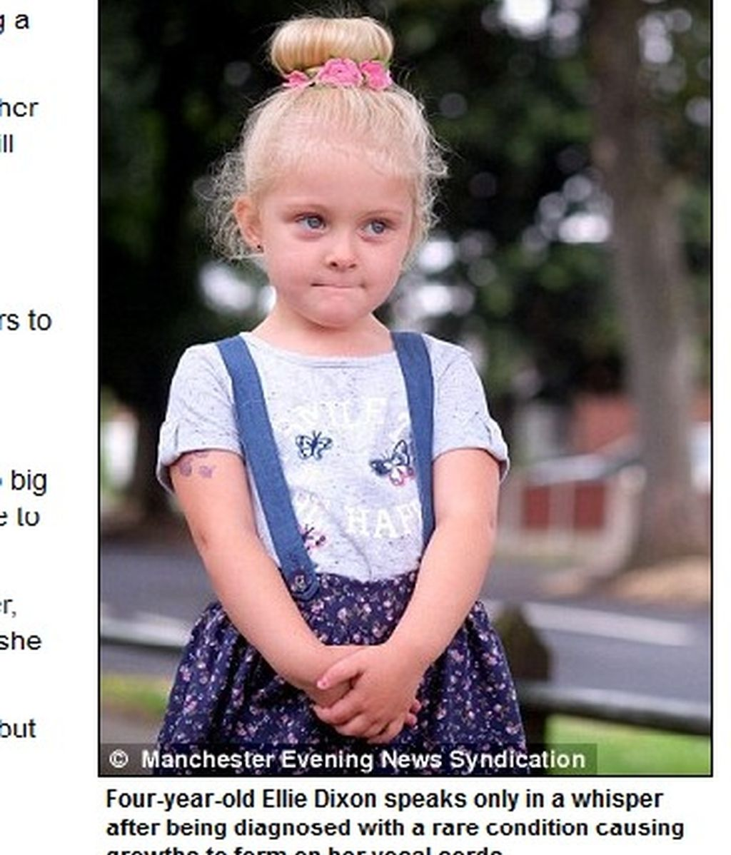 Una niña solo puede susurrar por culpa de un cáncer en la garganta